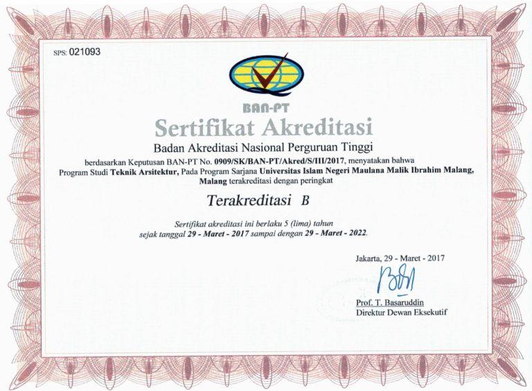 Sertifikat Akreditasi Jurusan Teknik Arsitektur