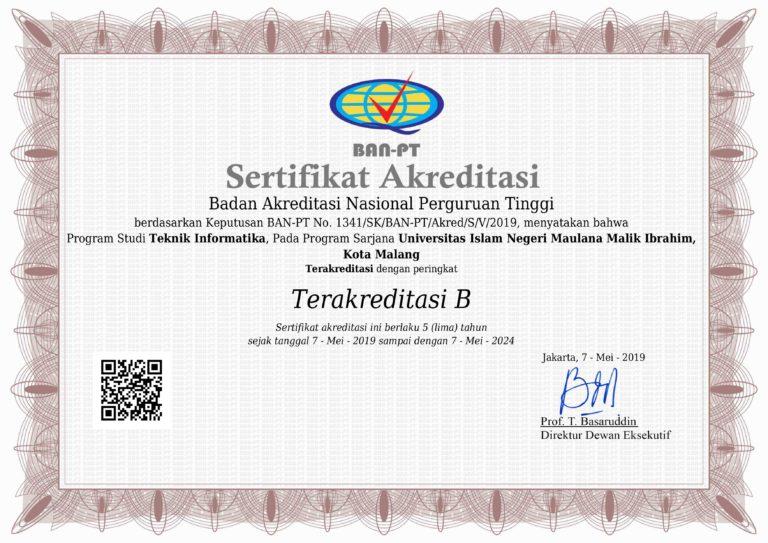 Sertifikat Akreditasi Jurusan Teknik Informatika