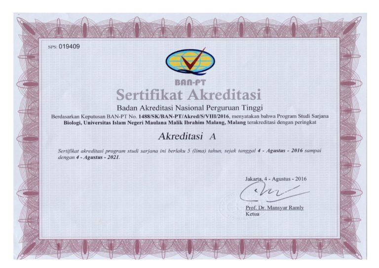 Sertifikat Akreditasi Jurusan Biologi